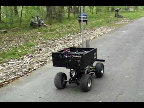 Robot driving on bike path