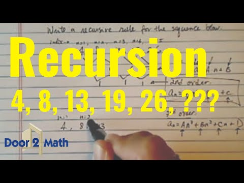 Recursive Rule for Sequence:   4 , 8 ,13 , 19 , 26 , ...