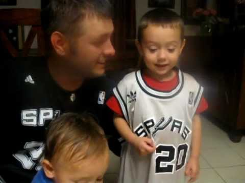 Manu Ginobili - Can you say it?  Child trying to say the name of favorite San Antonio Spur