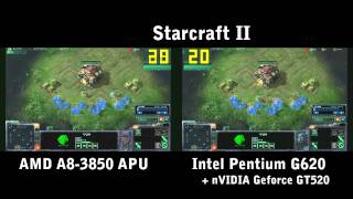 Starcraft II : A8-3850 vs G620+GT520