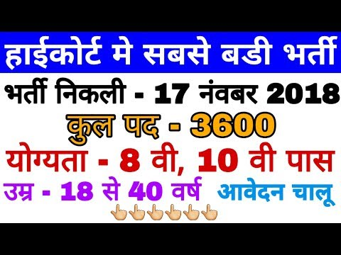 High Court New Vacancy 2018-19 Latest News Today | Big Breaking News
