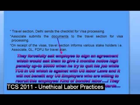 TCS Unethical Labor Policy (Tata consultancy services refered as TCS)