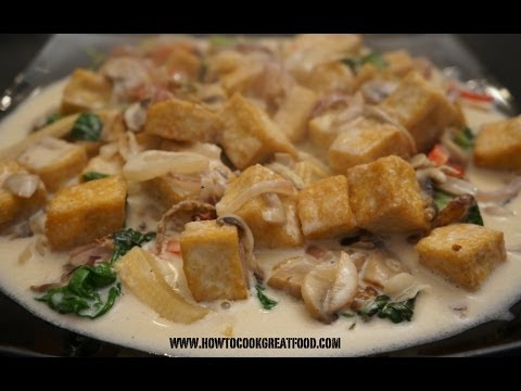 Asian Food - Tofu Mushrooms Coconut Milk Thai Basil Recipe Vegan cooking