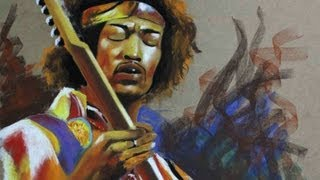 PINTURA AL PASTEL jimi hendrix - coleccion -   ( legends of guitar )