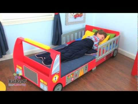 Camas infantiles en forma de cami n de bomberos de - Escalera cama infantil ...