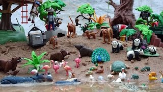 Giant Playmobil Wildlife Building Sets and Jungle Safari Animals Toys Collection in the Sandbox