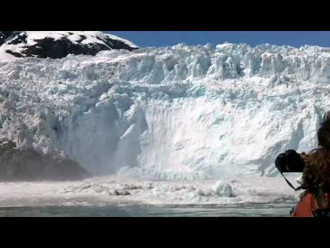 Glacier Calving, Huge Wave