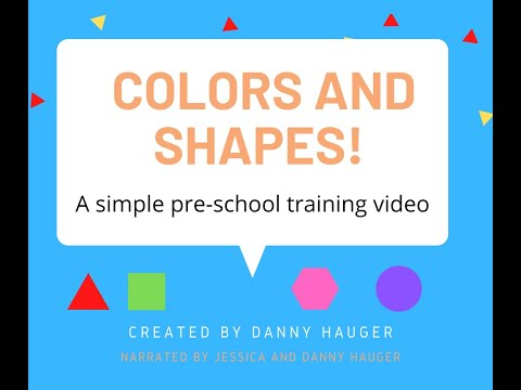 Shapes and Colors Identification Slideshow for Pre-School Kids Distance Learning Practice w Guitar