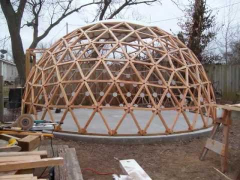 Geodesic dome building in a minute and a half youtube for Geodesic greenhouse plans free