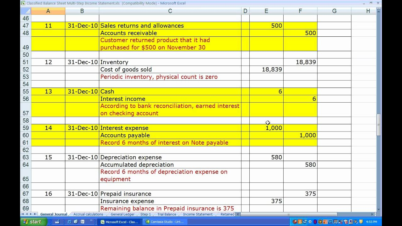 Classified Balance Sheet and Multi-Step Income Statement