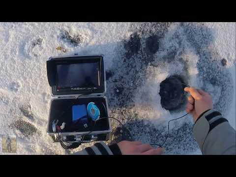 Поиск рыбы с подводной камерой. Ловля окуня на безмотылку 2018. Первый лед