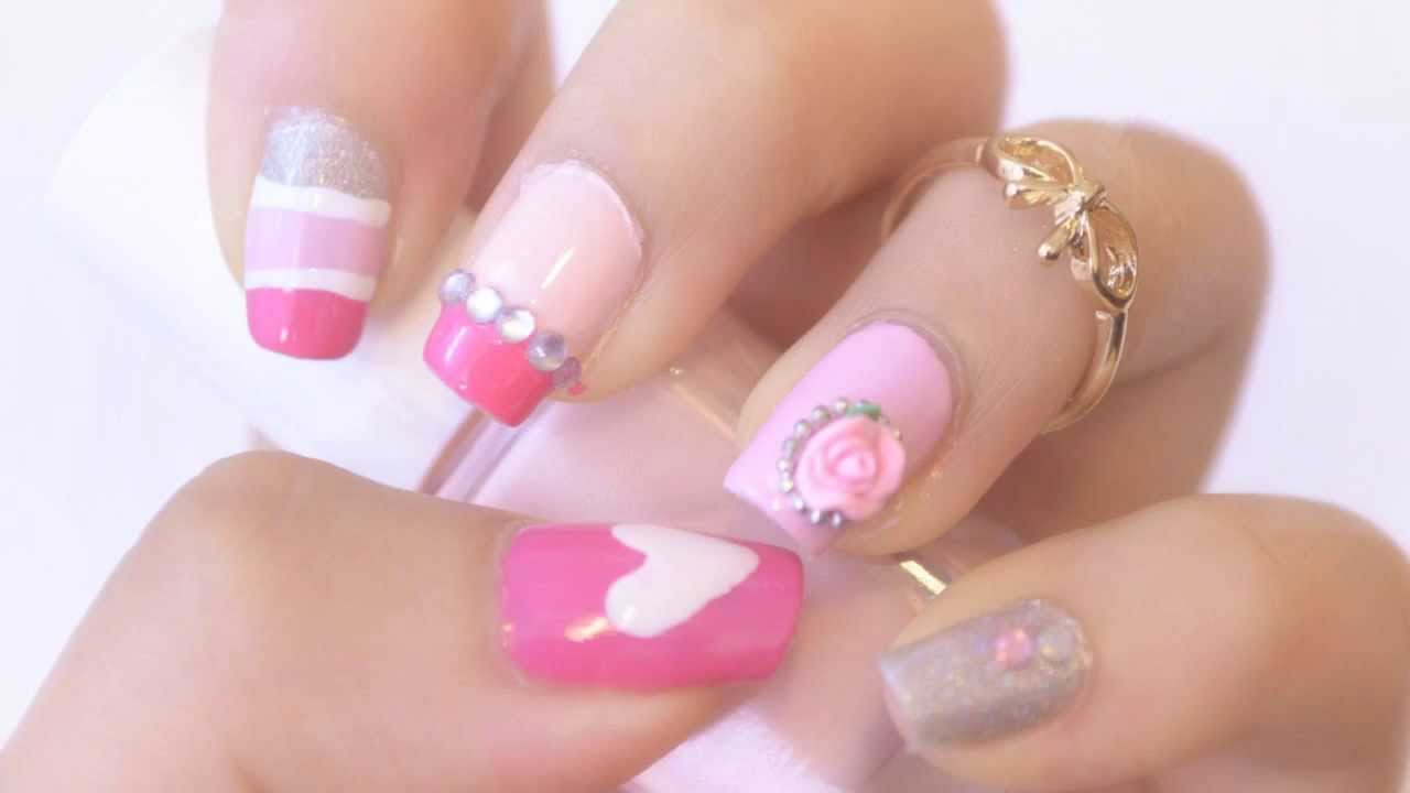 Nail art light pink urine