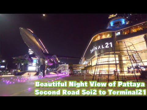 Beautiful night view of Pattaya / Second Road Soi2 to Terminal21