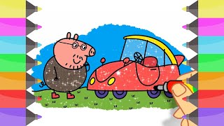 How to Draw Peppa Pig Dad Car | Coloring Pages for Girls | Cute Art Colors for Kids