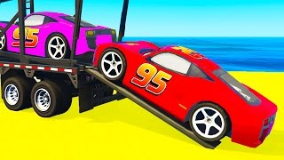 Color LIGHTNING MCQUEEN CARS Transportation in Spiderman Cartoon and Colors for Kids Nursery Rhymes
