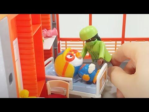 병원놀이 똥 싸다 쓰러진 뽀로로가 아파요 주사놀이 의사놀이 플레이모빌 장난감
