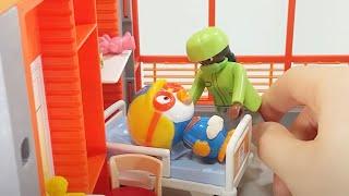 병원놀이 밥 먹다 쓰러진 뽀로로가 아파요 주사놀이 의사놀이 플레이모빌 장난감