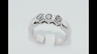 Diamonds trilogy ring white gold 18kt handmade