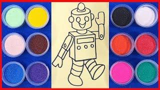 Đồ chơi trẻ em TÔ MÀU TRANH CÁT NGƯỜI MÁY RÔBỐT - Learn Colors Sand Paiting Toys (chị Chim Xinh)