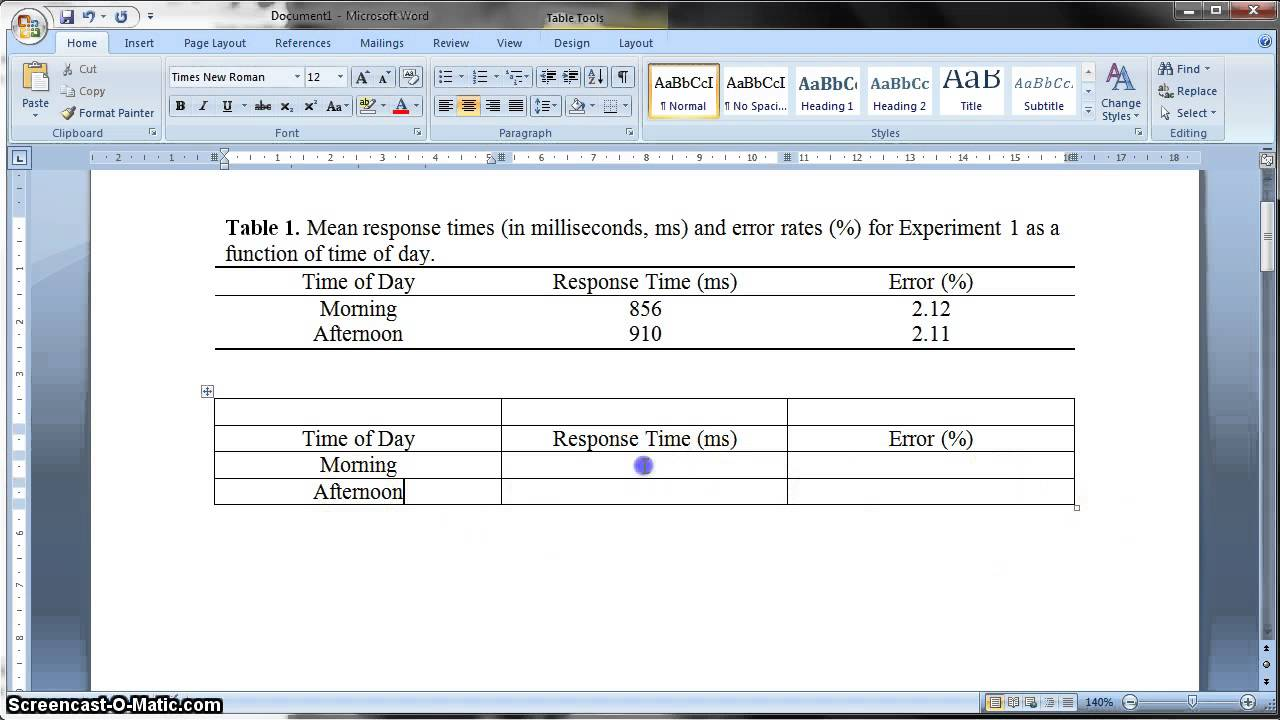 Apa formatted table in ms word 2010 youtube for Table design on word