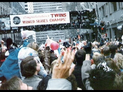 The World Champion Minnesota Twins celebrate by driving convertibles and wearing fur coats through downtown Minneapolis and St. Paul after winning the 1987 W...