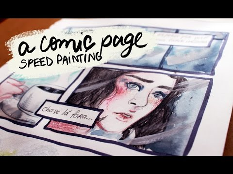 WAITING | Painting a Comic Page with Watercolors (Speed Painting)