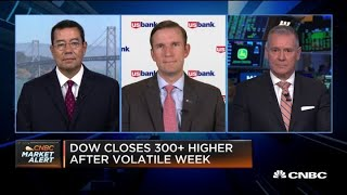 Dow closes 300 points higher after wild week