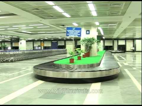 Baggage claim and arrivals at Bombay airport