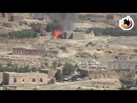 فيديو: احتراق طقم للحوثيين وصالح محمل بالذخيرة وعيار23 وذلك أثناء تحرير قرية المدفون - نهم