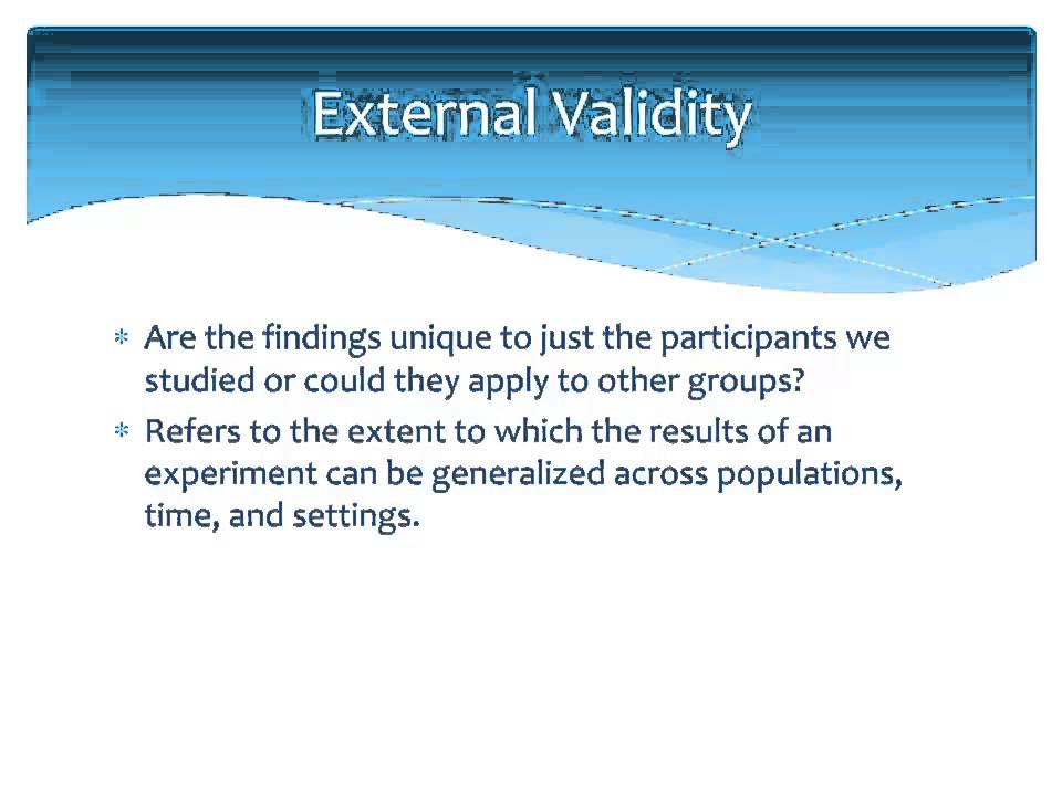 internal validity Different methods vary with regard to these two aspects of validity experiments, because they tend to be structured and controlled, are often high on internal validity.