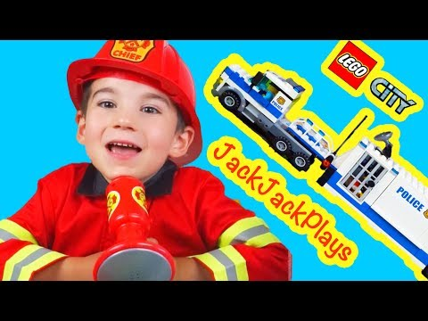 Lego Toys - Lego City Fire and Police Truck Unboxing, Build, and Playing Compilation