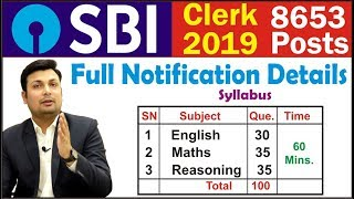 SBI CLERK 2019, Notification Out, 8653 Posts, Salary Rs. 25000, Syllabus etc