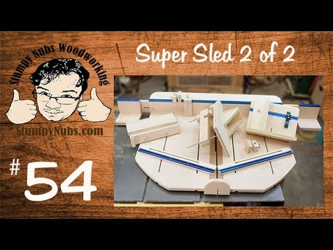 SNW54- Homemade table saw crosscut sled with box.finger joint. spline and tenon jigs PART 2 of 2