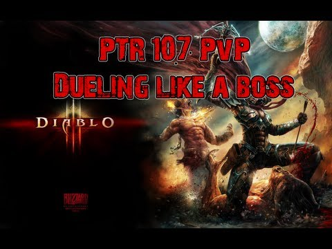Diablo 3 PTR 1.0.7 PvP   Demohunter vs Wizard vs Barb vs Monk
