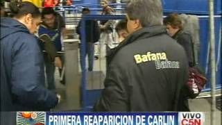 Carln Calvo reapareci ayer de tarde cuando llev a su hijo a ver Boca-All Boys