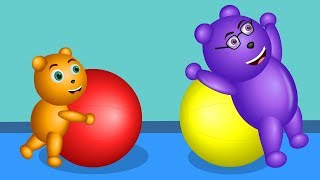 Gummy Bear Playing with Yoga Ball Finger Family  | Gummy Bear Finger Family Nursery Rhymes for Kids