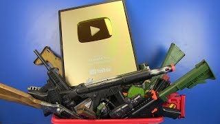 Box of Toys - GOLD PLAY BUTTON ! Military Guns Toys For Kids