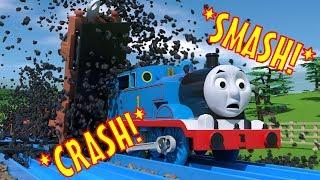 TOMICA Thomas and Friends Slow Motion Crashes: Coal Trucks SMASH into Thomas!