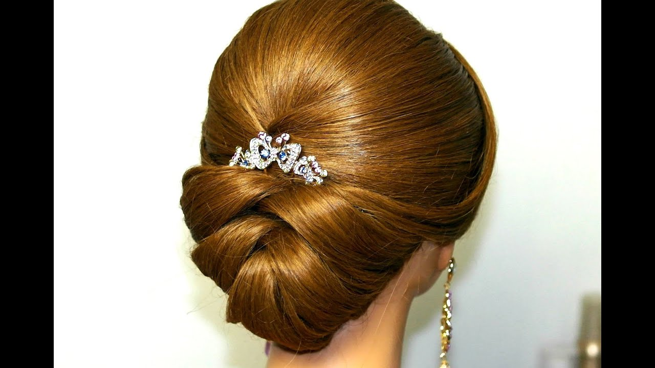 Bridal updo. Wedding hairstyle for medium long hair. - YouTube
