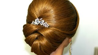 Wedding hairstyle for medium long hair.