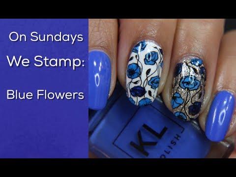 On Sundays We Stamp:  Blue Flowers