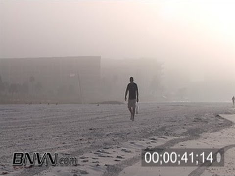 1/3/2006 People at the beach in the fog footage