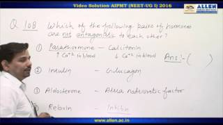 AIPMT 2016 Biology Solution – Q. 101,108 (Paper Code-P) NEET-UG 2016 Phase I