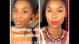 Tuto Makeup : Trait d'eyeliner noir et RAL rouge, (teint, contouring, highlight, ombré lips)