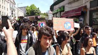 Students protesting Climate Change inactio in Lisbon, Portugal