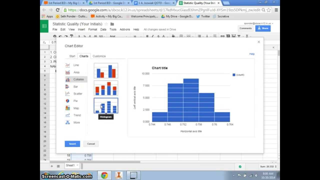 creating a histogram using google spreadsheets