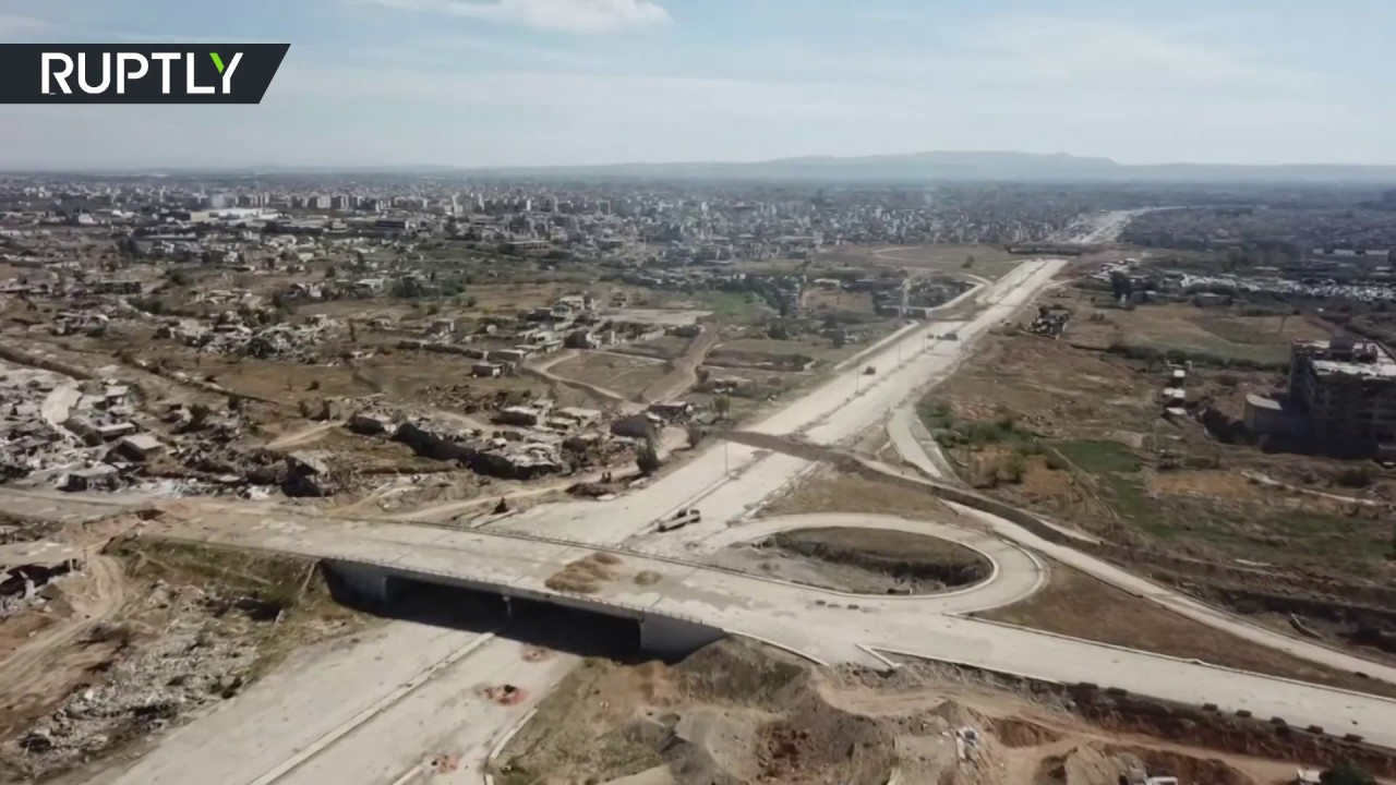 Drone footage shows cleared Eastern Ghouta highway after 7-year-blockade