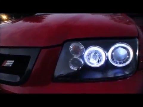 MK4 Jetta Audi style halo headlights - YouTube