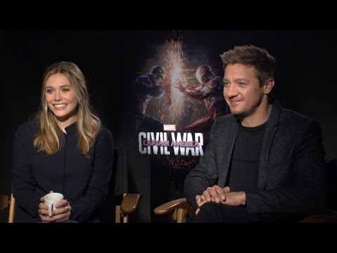 Elizabeth Olsen and Jeremy Renner on Captain America: Civil War