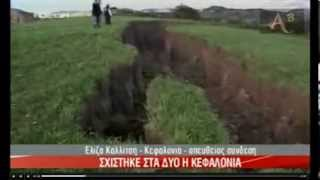 THE GROUND SPLIT APART AFTER STRONG QUAKE KEFALONIA ISLAND GREECE 26/1/14